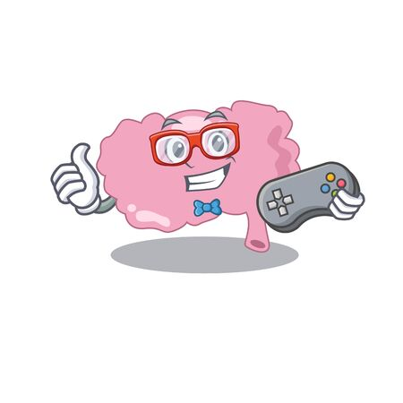 Mascot design style of brain gamer playing with controller
