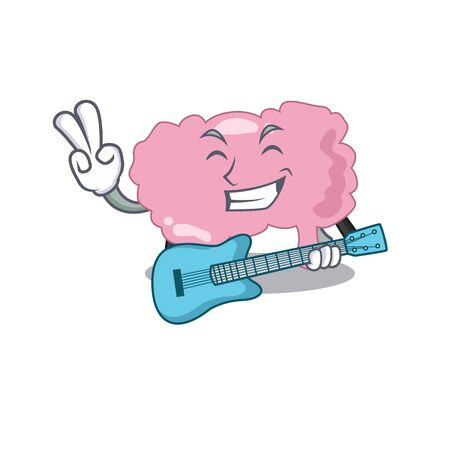 brilliant musician of brain cartoon design playing music with a guitar
