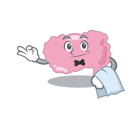 A cartoon picture of brain waiter with a white napkin. Vector illustration