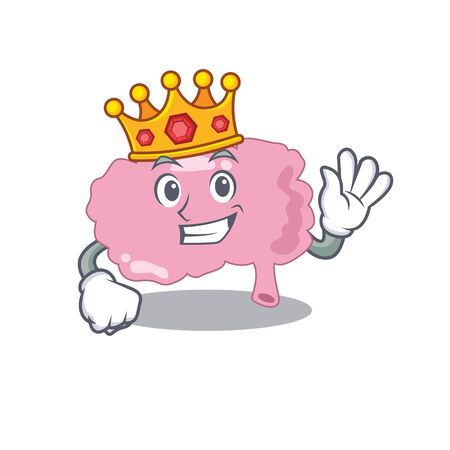 A Wise King of brain mascot design style with gold crown Иллюстрация