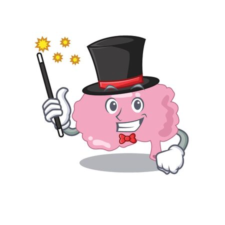 A gorgeous smart Magician of brain cartoon design style. Vector illustration