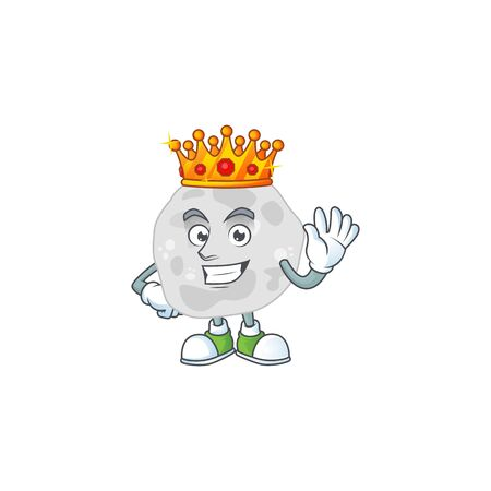 A charming King of fibrobacteres cartoon character design with gold crown