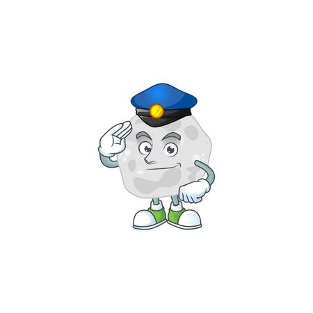 A dedicated Police officer of fibrobacteres cartoon drawing concept
