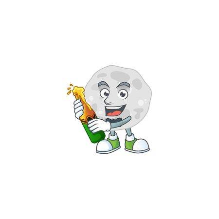 Happy face of fibrobacteres cartoon design toast with a bottle of beer. Vector illustration Ilustracja