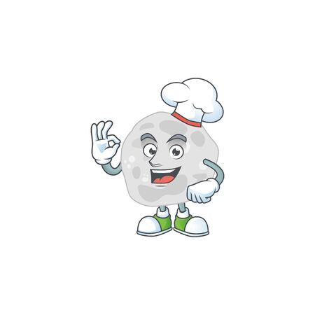 Fibrobacteres chef cartoon drawing concept proudly wearing white hat
