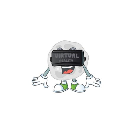 Caricature picture of fibrobacteres playing a game using Virtual reality headset