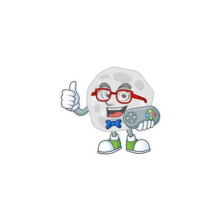 Cartoon mascot design of fibrobacteres play a game with controller