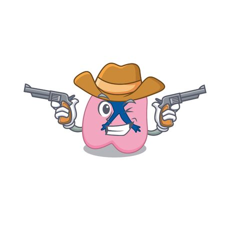 Cartoon character cowboy of lung with guns. Vector illustration