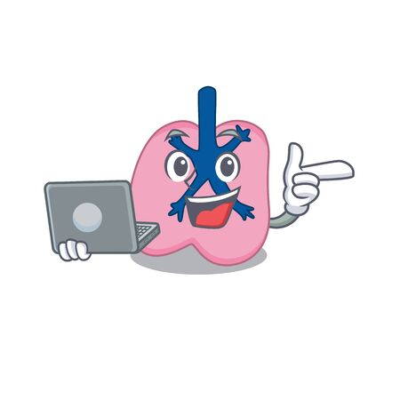 Smart cartoon character of lung studying at home with a laptop. Vector illustration Illustration