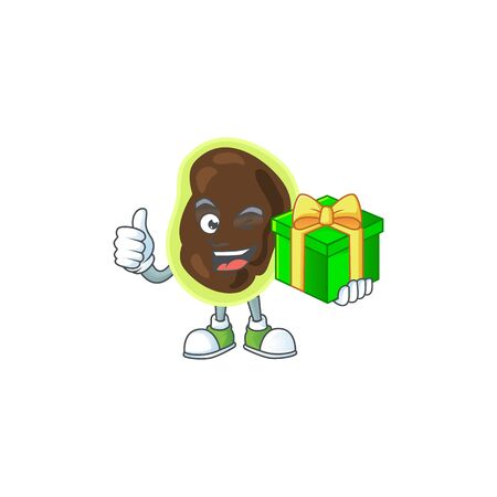 Happy smiley firmicutes cartoon mascot design with a gift box. Vector illustration