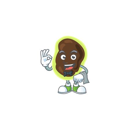 A cartoon image of firmicutes as a waiter character ready to serve. Vector illustration