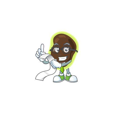 cartoon mascot design of firmicutes holding a menu list. Vector illustration Illustration