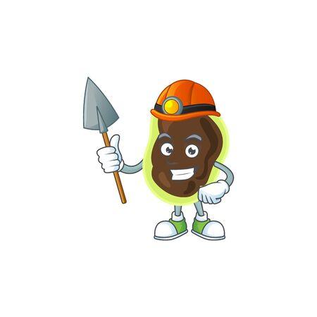 Firmicutes as a miner cartoon character design. Vector illustration