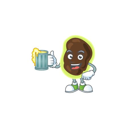 A cheerful firmicutes cartoon mascot style toast with a glass of beer. Vector illustration