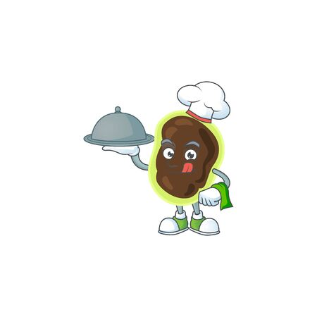 A firmicutes chef cartoon mascot design with hat and tray. Vector illustration