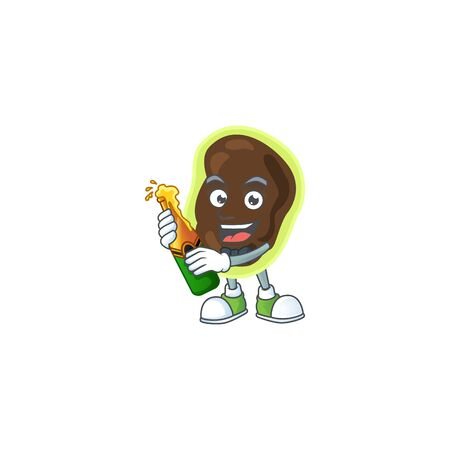 Happy face of firmicutes cartoon design toast with a bottle of beer. Vector illustration