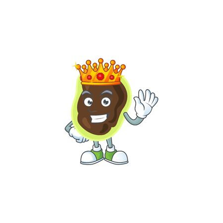 A charming King of firmicutes cartoon character design with gold crown. Vector illustration