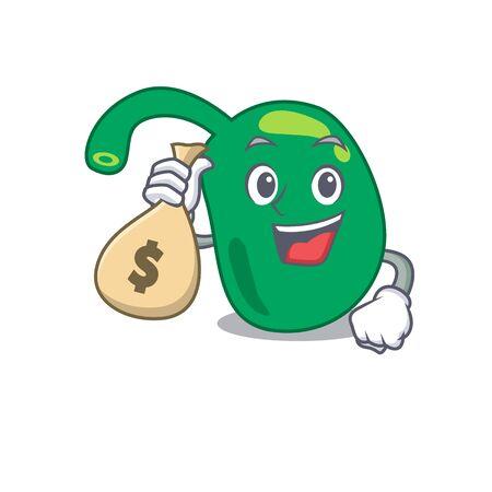 Crazy rich pineal mascot design having money bags
