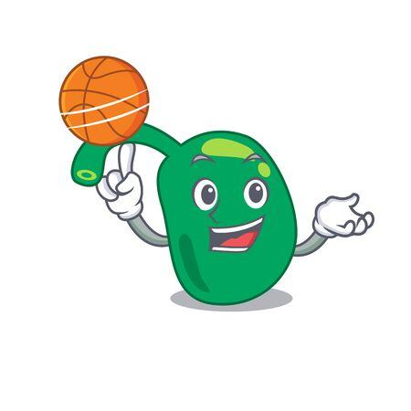 Sporty cartoon mascot design of pineal with basketball