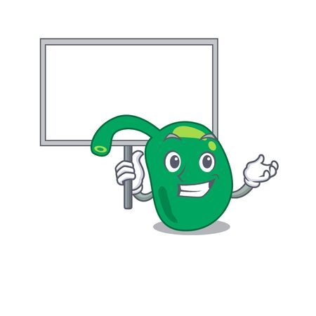 Cartoon picture of pineal mascot design style carries a board