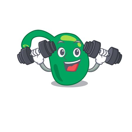 Pineal mascot design feels happy lift up barbells during exercise