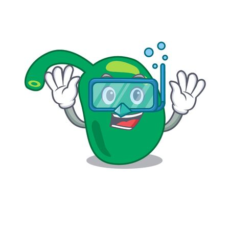 Pineal mascot design swims with diving glasses Illustration