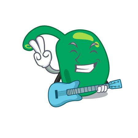 brilliant musician of pineal cartoon design playing music with a guitar