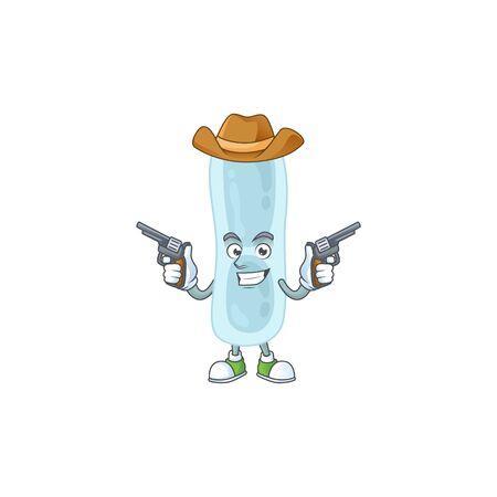 A masculine cowboy cartoon drawing of klebsiella pneumoniae holding guns. Vector illustration