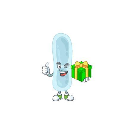 Happy smiley klebsiella pneumoniae cartoon mascot design with a gift box. Vector illustration Ilustrace