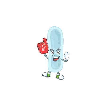 Klebsiella pneumoniae Cartoon character design style with a red foam finger. Vector illustration Ilustrace