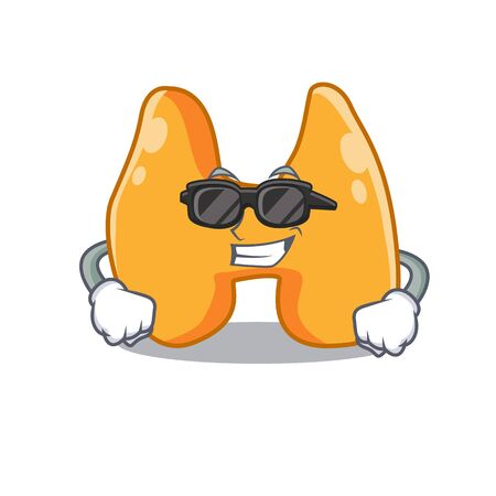cartoon character of thyroid wearing classy black glasses Illustration