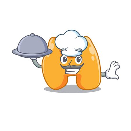 mascot design of thyroid chef serving food on tray