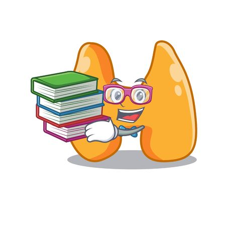 A diligent student in thyroid mascot design concept read many books Illustration