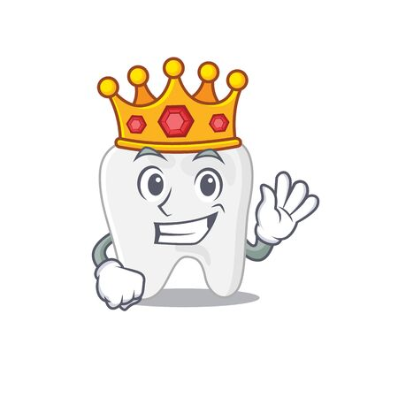 A Wise King of tooth mascot design style with gold crown