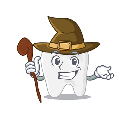 Tooth funny but sneaky witch cartoon character design. Vector illustration Vettoriali