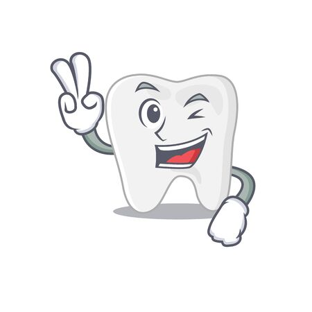 Happy tooth cartoon design concept show two fingers. Vector illustration
