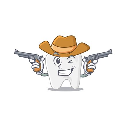Cartoon character cowboy of tooth with guns Illustration