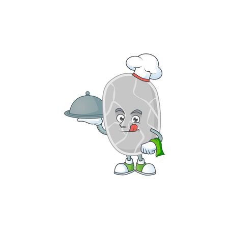 A nitrospirae chef cartoon mascot design with hat and tray. Vector illustration 向量圖像