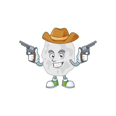 A masculine cowboy cartoon drawing of planctomycetes holding guns. Vector illustration