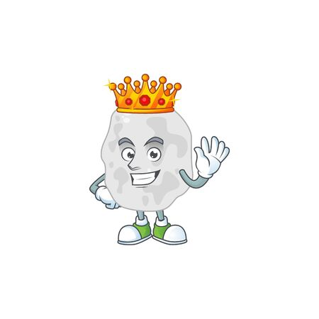 A charming King of planctomycetes cartoon character design with gold crown. Vector illustration Иллюстрация