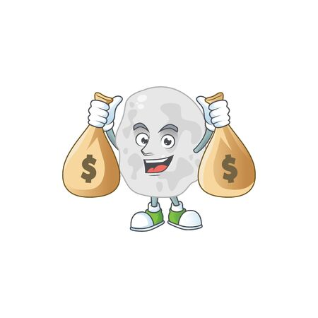 A humble rich planctomycetes caricature character design with money bags. Vector illustration