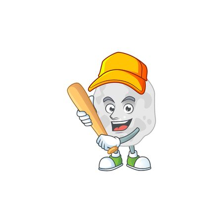 cartoon design concept of planctomycetes playing baseball with stick. Vector illustration Illustration