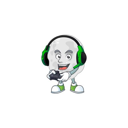 A cartoon design of planctomycetes clever gamer play wearing headphone. Vector illustration Illustration