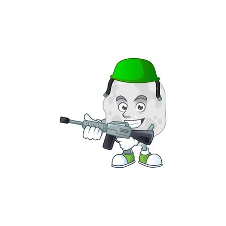 A mascot design picture of planctomycetes as a dedicated Army using automatic gun. Vector illustration