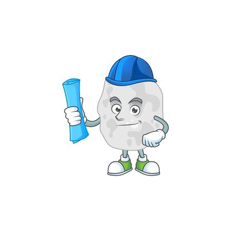 brilliant Architect planctomycetes mascot design style with blue prints and helmet