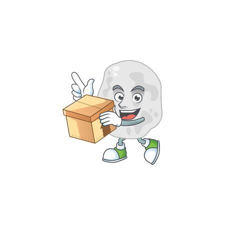 cartoon design style of planctomycetes having gift box Illustration