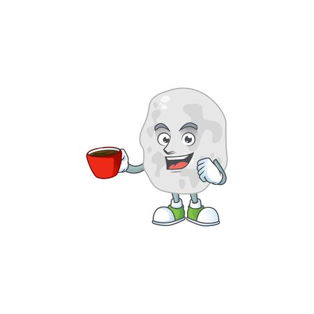 A mascot design character of planctomycetes drinking a cup of coffee. Vector illustration