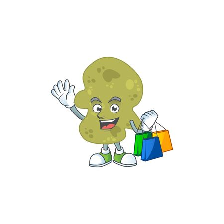 Happy rich verrucomicrobia Caricature picture with shopping bags