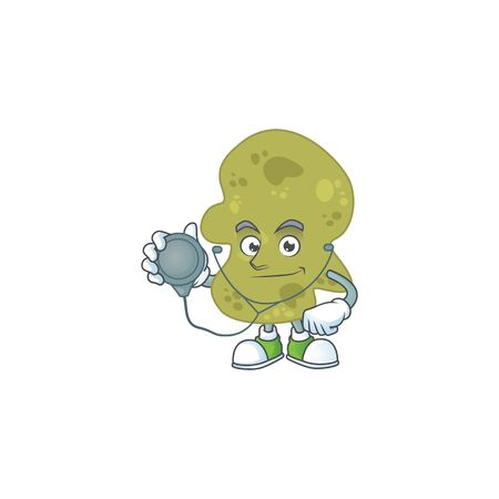 Cartoon character of verrucomicrobia dedicated Doctor Work with stethoscope Illustration
