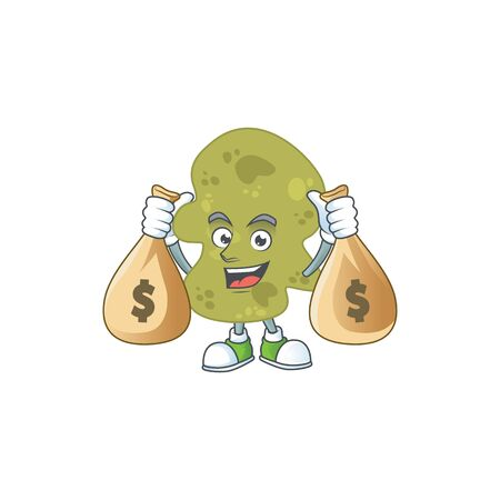 A humble rich verrucomicrobia caricature character design with money bags